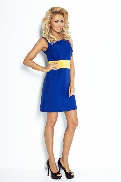 e5d7e211d8 102-2 PSZCZÓŁKA - CHABROWA sukienka z żółtym pasem