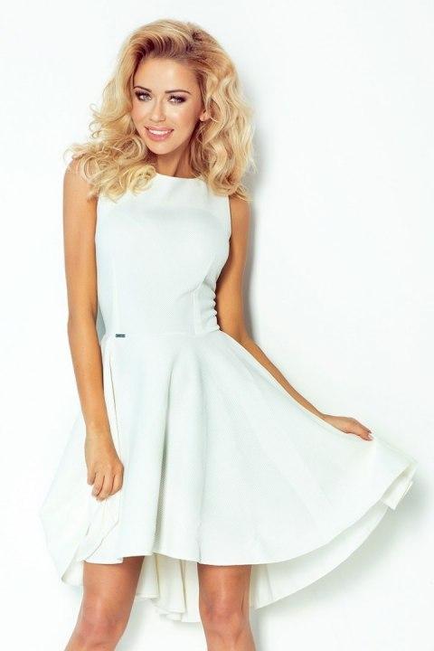398fb349db 66-7 Gruba Lacosta - Ekskluzywna sukienka z dłuższym tyłem - ECRU