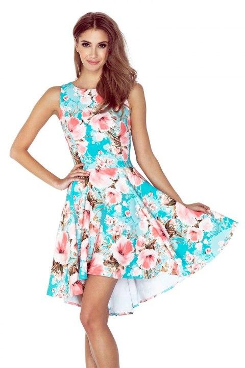 e13e89d62e 148-1 Sukienka z dłuższym tyłem - KWIATY BRZOSKWINIOWE NA NIEBIESKIM TLE