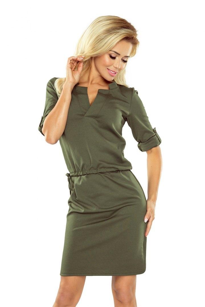 54608f738a 161-2 AGATA - Sukienka z kołnierzykiem - KHAKI