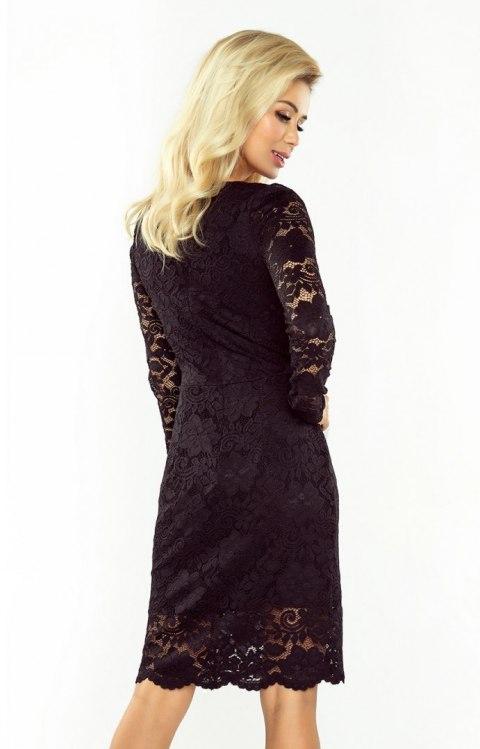 Ogromny 170-1 Sukienka koronkowa z długim rękawkiem i DEKOLTEM - CZARNA QD29