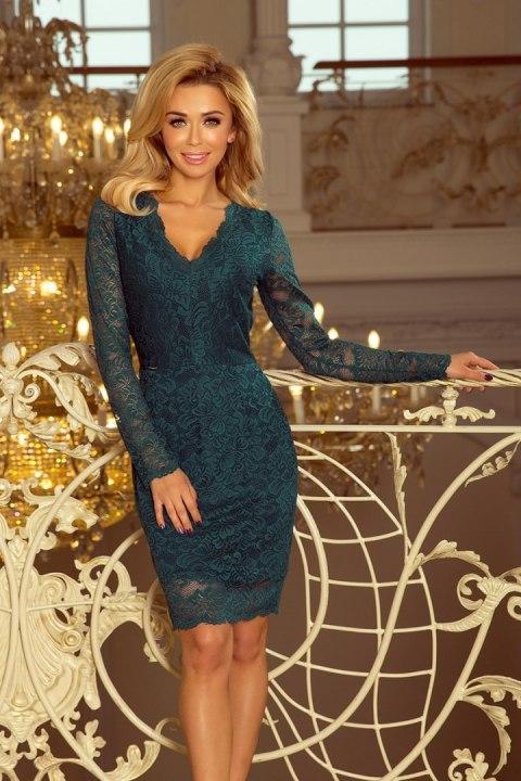 f122d6287e 170-3 Sukienka koronkowa z długim rękawkiem i DEKOLTEM - ZIELONA
