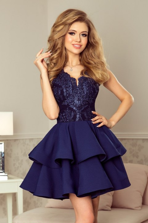 13baa4d649 200-2 CHARLOTTE - ekskluzywna sukienka z koronkowym dekoltem - GRANATOWA