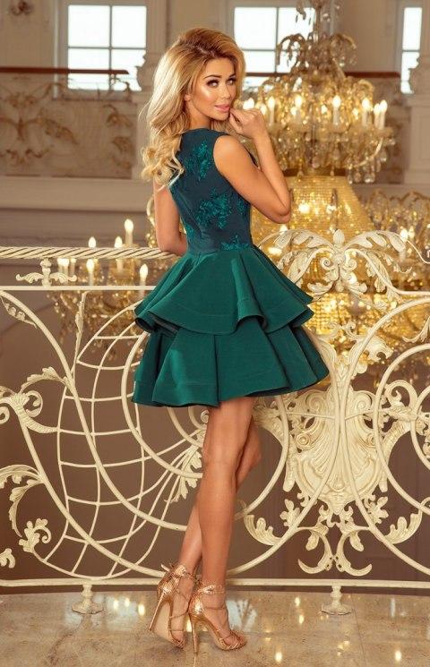 7c401653c81e70 200-6 CHARLOTTE - ekskluzywna sukienka z koronkowym dekoltem - ZIELONA