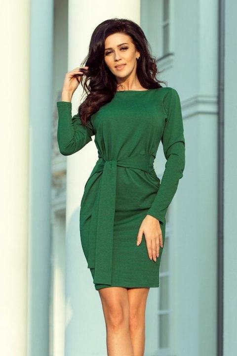 b6e5943f44 209-2 Sukienka z szerokim wiązanym PASKIEM - ZIELEŃ BUTELKOWA