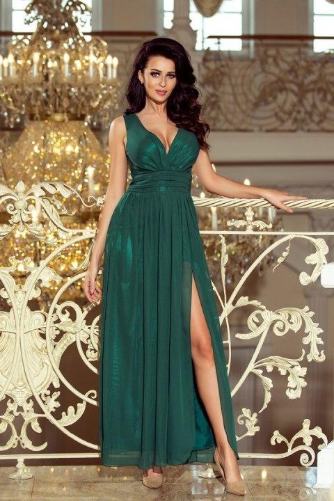 e17c891cab 166-5 MAXI szyfonowa długa suknia z rozcięciem - ZIELEŃ BUTELKOWA
