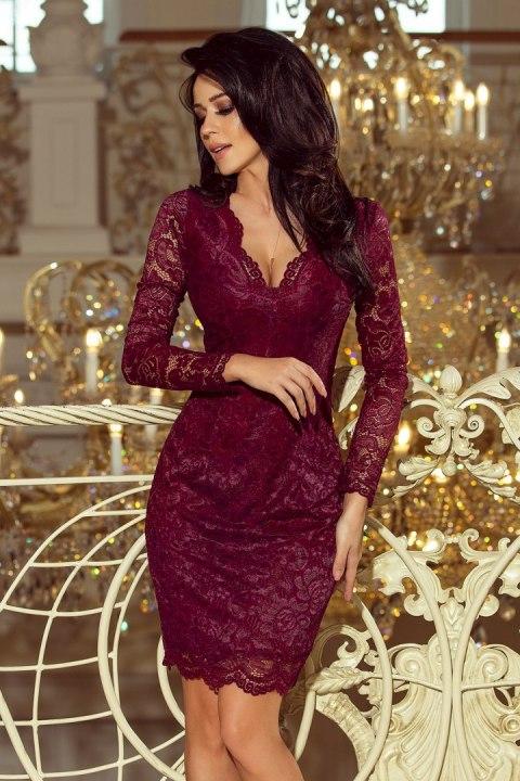 bb06c29e30bbf1 170-5 Sukienka koronkowa z długim rękawkiem i DEKOLTEM - BORDOWA