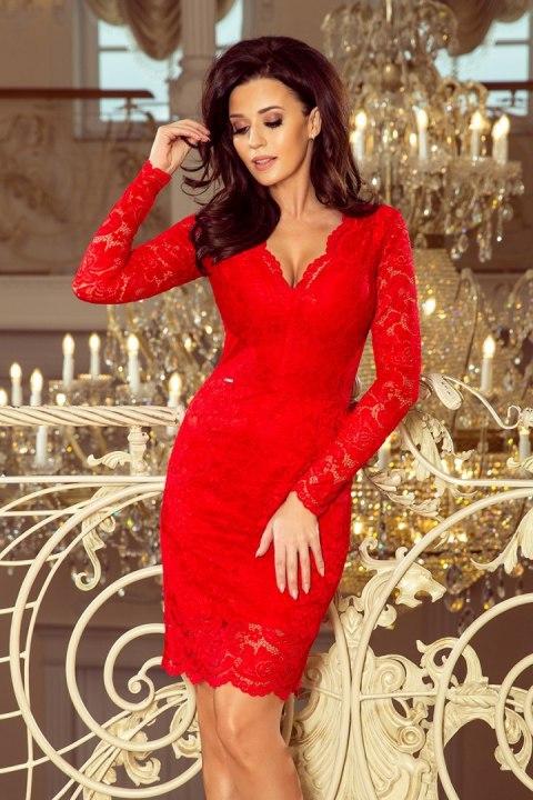 411b60276c 170-6 Sukienka koronkowa z długim rękawkiem i DEKOLTEM - CZERWONA