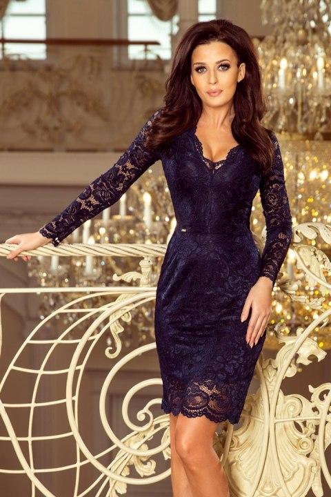 81aae564 170-7 Koronkowa sukienka z długim rękawkiem i DEKOLTEM - GRANATOWA