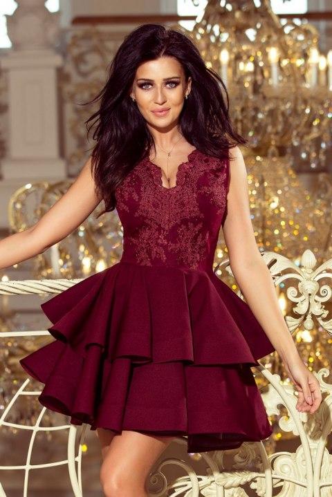 Nietypowy Okaz 200-8 CHARLOTTE - ekskluzywna sukienka z koronkowym dekoltem - BORDOWA FM08