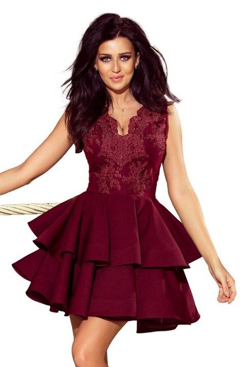 4803a7870c128c 200-8 CHARLOTTE - ekskluzywna sukienka z koronkowym dekoltem - BORDOWA