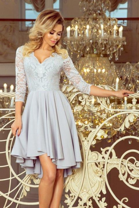 76f8566ec2 210-9 NICOLLE - sukienka z dłuższym tyłem z koronkowym dekoltem - SZARA