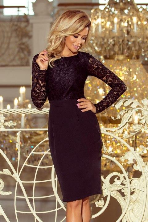 cbc7a7db 216-2 EMMA elegancka ołówkowa sukienka z koronką - CZARNA