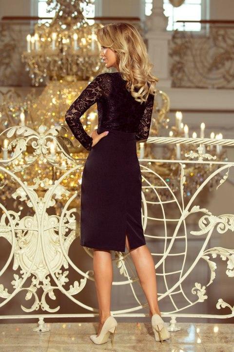 de941e027c 216-2 EMMA elegancka ołówkowa sukienka z koronką - CZARNA