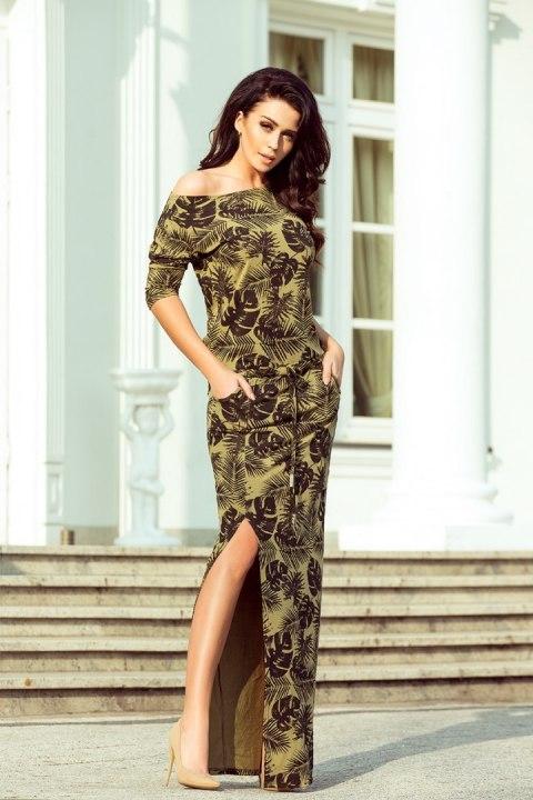 853df0b00a 220-2 MAXI sukienka sportowa z rozcięciem - okrągłe LIŚCIE + KHAKI