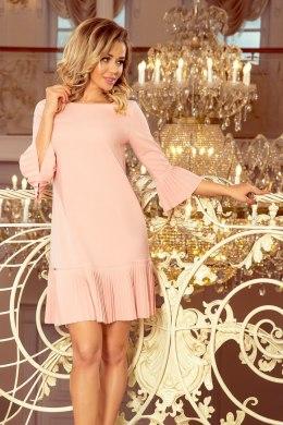 b77ea91c0e 228-1 LUCY - plisowana wygodna sukienka - BRZOSKWINIA
