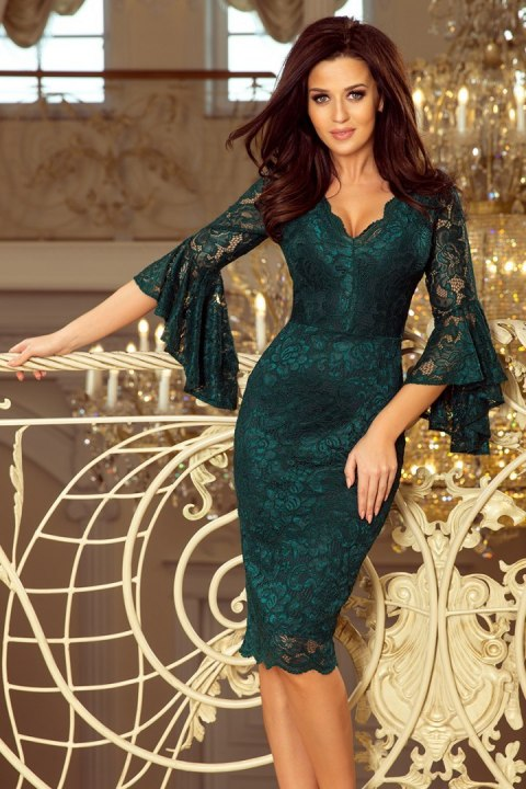 d2b2de1929 234-2 Koronkowa sukienka z rozkloszowanymi rękawkami - ZIELEŃ BUTELKOWA