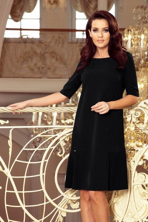 6241fbd974 253-1 LIDIA Sukienka z plisami po bokach - CZARNA