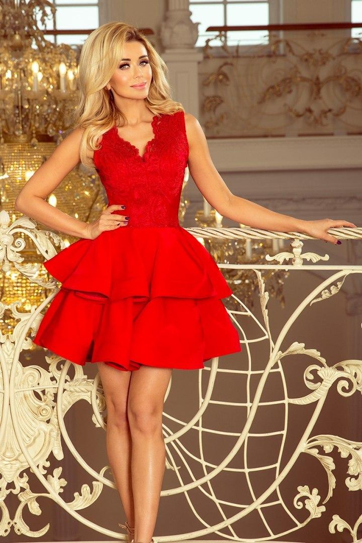 200-4 CHARLOTTE - ekskluzywna sukienka z koronkowym dekoltem - CZERWON