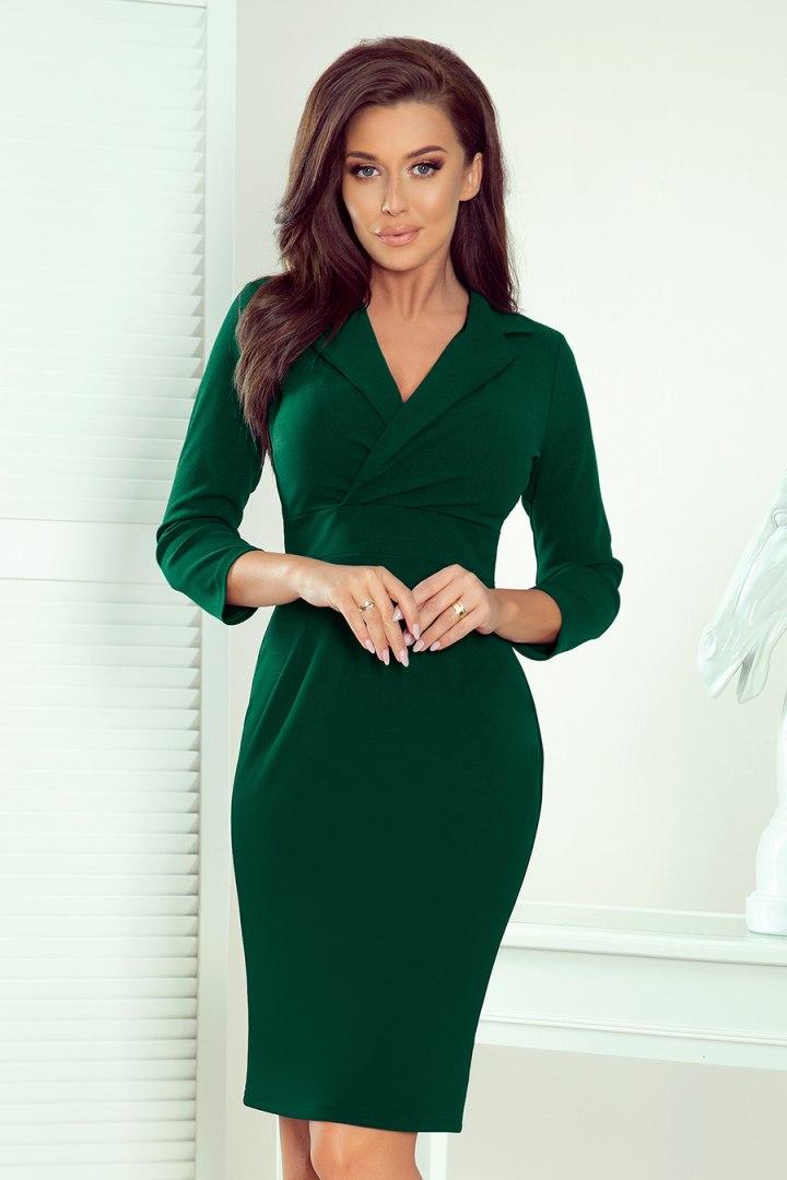 237-3 KELLY Elegancka sukienka z dekoltem - ZIELEŃ BUTELKOWA