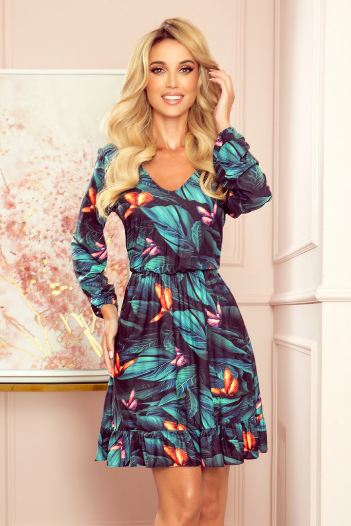 320-1 CORA sukienka z dekoltem i falbanką - kolorowe MOTYLE