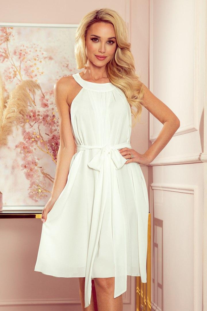 350-1 ALIZEE - szyfonowa sukienka z wiązaniem - ECRU