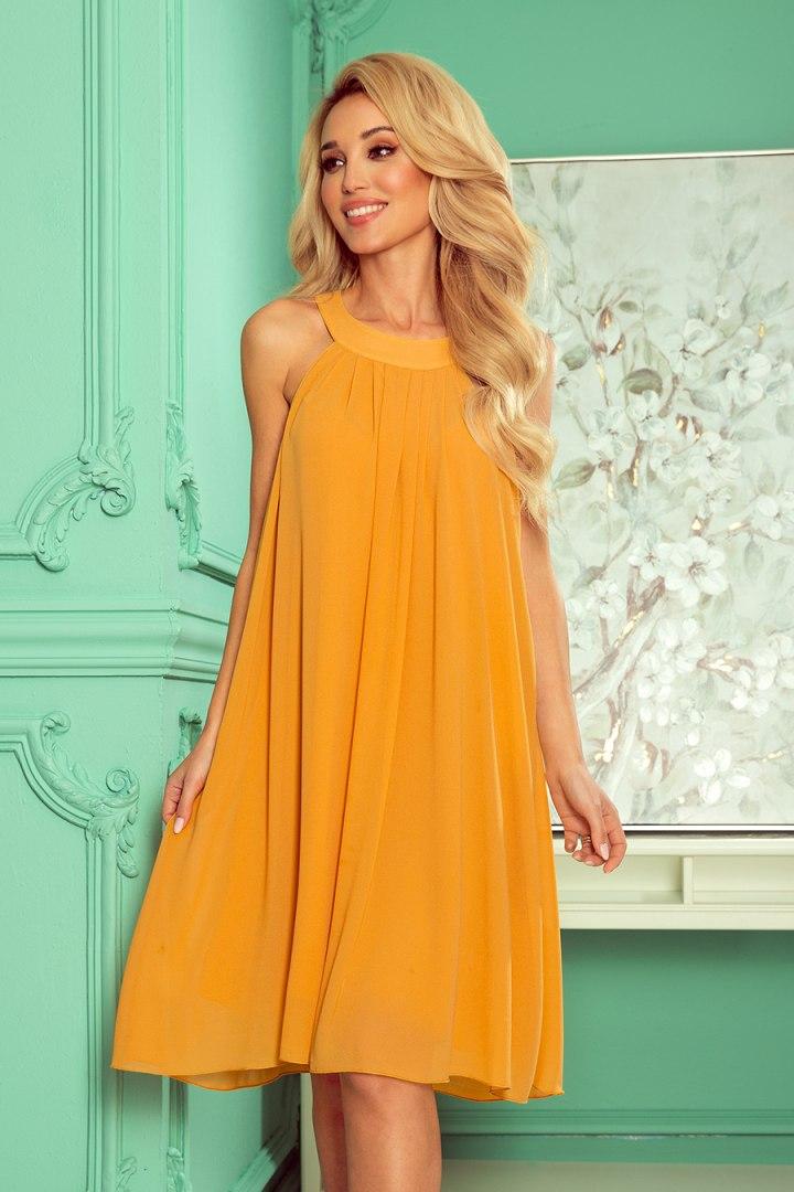 350-3 ALIZEE - szyfonowa sukienka z wiązaniem - kolor MIODOWY